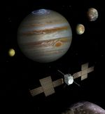 Copyright: Spacecraft: ESA/ATG medialab; Jupiter: NASA/ESA/J. Nichols (University of Leicester); Ganymede: NASA/JPL; Io: NASA/JPL/University of Arizona; Callisto and Europa: NASA/JPL/DLR